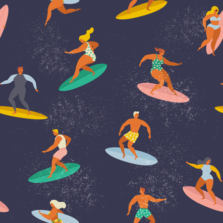 Surfing boys and girls on the surf boards catching waves in the sea. Summer beach Vector seamless pattern. Illustration