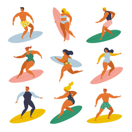 Surf girls and boys surfing in the sea set 70s style. Standard-Bild - 115088898