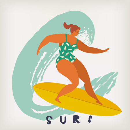 Poster with surfer on surfboard catching waves in ocean. Beach and surfings design for poster, t-shirt or cards. Summertime illustration.