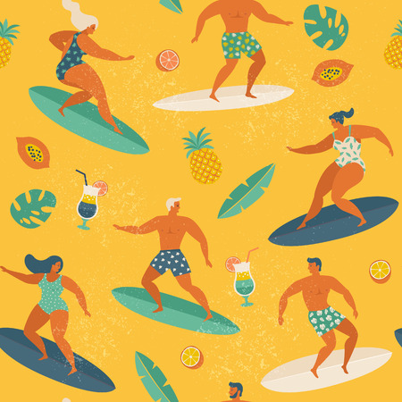 Surfing girls and boys on the surf boards catching waves in the sea. Summer beach seamless pattern vector. Illustration