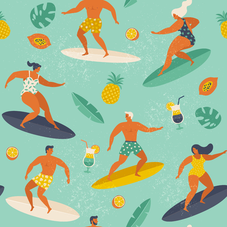 Summer beach seamless pattern in vector. Surf illustration retro style. Standard-Bild - 115003412