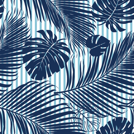 Summer Navy blue tropical forest leaves bright mood on sky blue stripe seamless pattern for fashoin fabric, wallpaper and card.