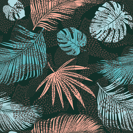 Trendy seamless exotic pattern with tropical plants and animal prints. Vector illustration. Modern abstract design paper, wallpaper, cover, fabric, interior decor. Standard-Bild - 115003414