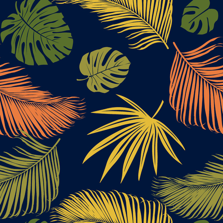 Seamless exotic pattern tropical plants. Vector hand draw background.