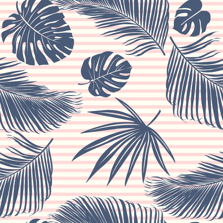 Summer Navy pink tropical forest leaves bright mood on sky blue stripe seamless pattern fashoin fabric, wallpaper and card. Standard-Bild - 115003416