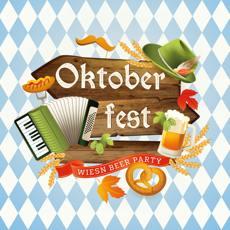 Oktoberfest. Welcome to beer festival. Invitation flyer, poster for feast
