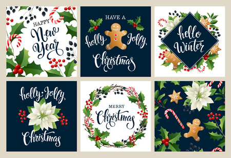 Happy new year 2019 Merry Christmas white and black collors. Design for poster, card, invitation, placard, flayer, brochure. Vector isolated illustrations. Standard-Bild - 114815095