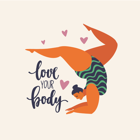 Happy yoga plus size girl. Happy body positive concept. Different is beautiful. Attractive overweight woman. For Fat acceptance movement no fatphobia. Vector illustration on retro background. 向量圖像