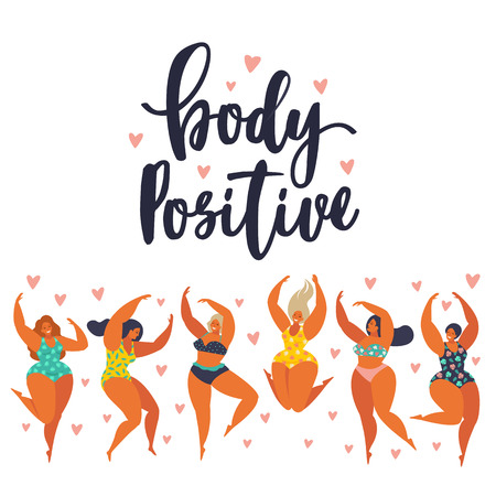 Body positive. Happy girls are dancing. Attractive overweight woman.