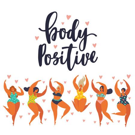 Cuerpo positivo. Chicas felices bailan. Atractiva mujer con sobrepeso.