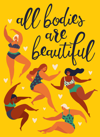 All bodies are beautiful. Body positive. Happy girls are dancing. Attractive overweight woman. Vector illustration.