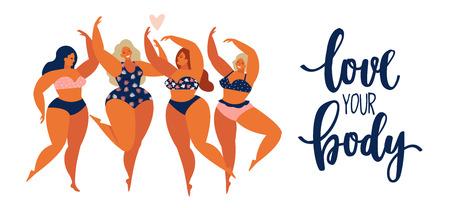Grupo de concepto de gente positiva de cuerpo de chicas de belleza de mujeres felices diferentes en traje de baño.