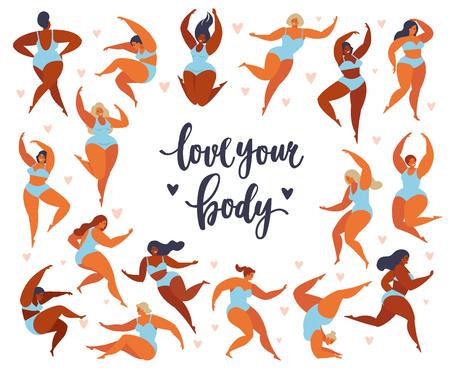 Feminism body positive set with love to own figure, female freedom girl power isolated vector illustration. Banque d'images - 114697048