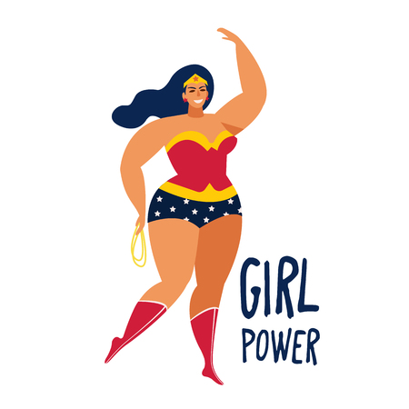 Beautiful Female superhero Vector flat cartoon illustration. Banque d'images - 105541392