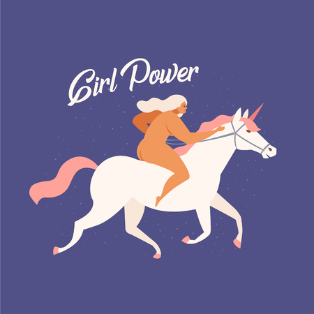 Girl riding a white unicorn funny illustration in vector with text quote you go girl. Banque d'images - 112364956