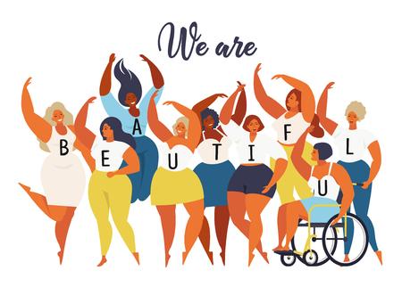Noi siamo belli. Grafico della giornata internazionale della donna nel vettore.