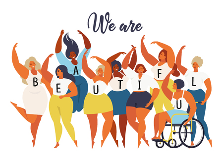 We are beautiful. International women day graphic in vector. 矢量图像