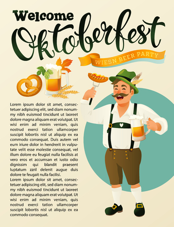 Green germany costume oktoberfest man a mustache icon in cartoon style isolated on vintage background vector illustration Munich Beer Festival Oktoberfest handwritten text Banque d'images - 105800190
