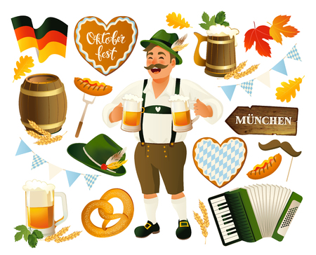 Oktoberfest set vector illustration isolated on a white background. Banque d'images - 105920755