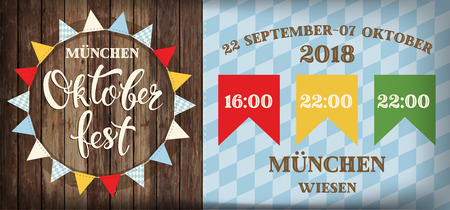 Attractive oktoberfest celebration. Flags festival poster with refreshing beverage isolated on wooden plank, oktoberfest means beer festival in German. Stok Fotoğraf - 112203721