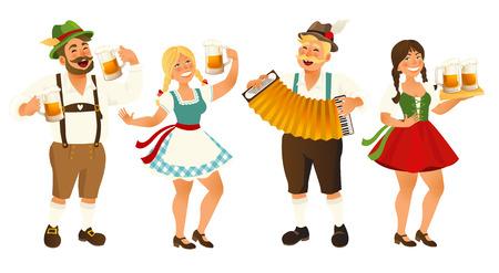 Personas en traje tradicional alemán, bávaro con jarras de cerveza, Oktoberfest, ilustración vectorial de dibujos animados aislado sobre fondo blanco. Retrato de cuerpo entero del pueblo alemán en trajes tradicionales.
