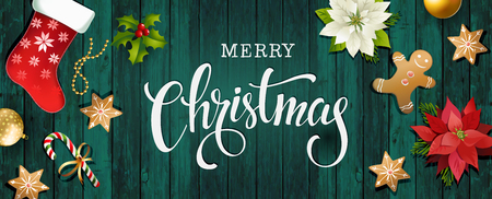 Christmas sale design composition of poinsettia, fir branches, cones, gingerbread, candy cane, holly and other plants. Cover, invitation, banner and greeting card.