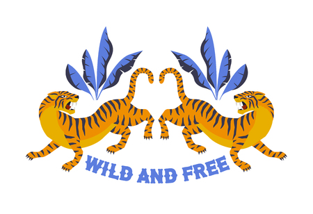 Japanese style tiger for t-shirt and other uses Wild and free. Trendy vector illustration.