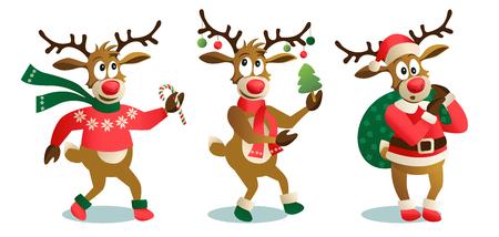 Lindos y divertidos renos de Navidad, ilustración vectorial de dibujos animados aislado sobre fondo blanco Reno con árbol de Navidad, regalos y baile, diversión, elementos de decoración.