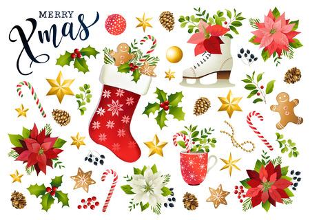 Composición de diseño de escenografía navideña de flor de pascua, ramas de abeto, conos, acebo y otras plantas. Portada, invitación, banner, tarjeta de felicitación. Ilustración vectorial.
