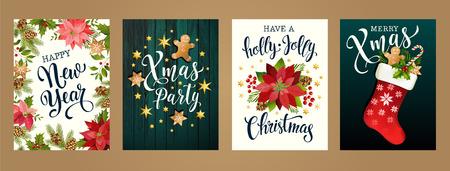 Frohe Weihnachten und ein glückliches neues Jahr 2019 weiße und schwarze Farben. Design für Poster, Karte, Einladung, Karte, Flyer, Broschüre. Vektorillustrationen. Vektorgrafik