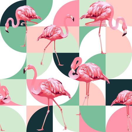 Egzotyczna plaża modny wzór, ilustrowany patchwork kwiatowy wektor tropikalnych liści bananowca. Różowe flamingi w dżungli.
