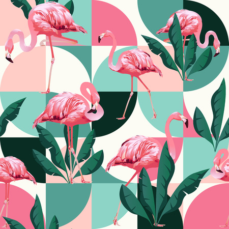 Exotic beach trendy seamless pattern, patchwork illustrated floral vector tropical banana leaves. Jungle pink flamingos. Banque d'images - 107471136