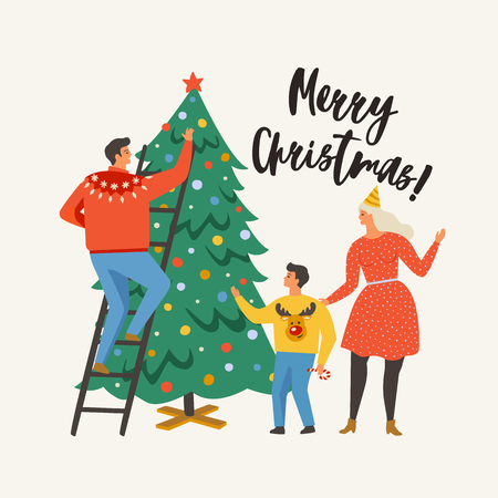 Merry Christmas greeting card with people. Family decorating a fir tree. Xmas winter poster collection. Banque d'images - 107569061