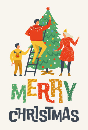 Merry Christmas greeting card with people. Family decorating fir tree. Banque d'images - 110310481