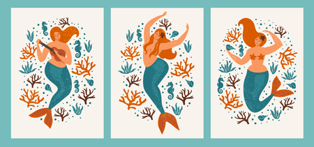 Under the sea card with mermaid, leaves, seashells and fish. Foto de archivo - 107701390