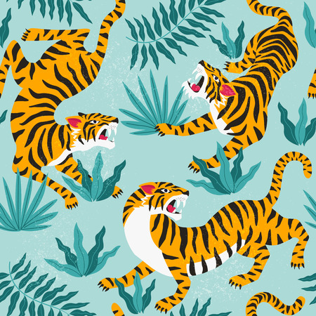 Vector seamless pattern with cute tigers on background. Fashionable fabric design.