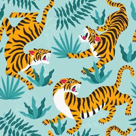 Vector naadloze patroon met schattige tijgers op de achtergrond. Modieus stofontwerp.