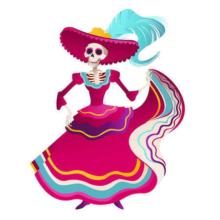 Day Of Dead Traditional Mexican Halloween Dia De Los Muertos Holiday Party Decoration Banner Invitation Vector Illustration. Banque d'images - 107842963