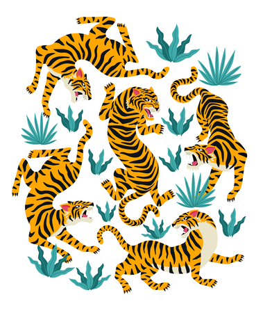 Vector set of tigers and tropical leaves Trendy illustration. Stock Illustratie