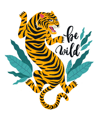Be wild.Vector illustration of tiger with tropical leaves. Trendy design for card, poster, tshirt. Çizim