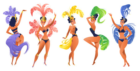 Set of Brazilian samba dancers Vector carnival in Rio de Janeiro girls wearing a festival costume is dancing. Banque d'images - 108156728