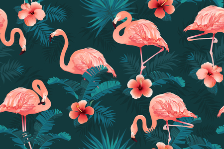 Beautiful Flamingo Bird Tropical Flowers Background Seamless pattern vector. Banque d'images - 109918312