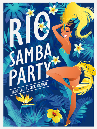 Happy girl dancing samba, beautiful Brazilian woman in festive costume with bright plumage vector Illustration on jungle background. 矢量图像
