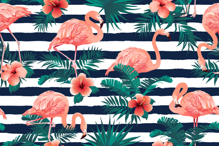Beautiful Flamingo Bird Tropical Flowers Background. Seamless pattern vector Banque d'images - 108545089