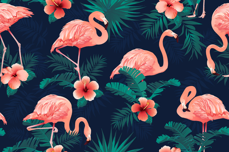 Beautiful Flamingo Bird Tropical Flowers Background. Seamless pattern vector