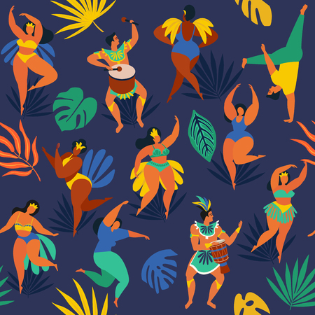 Brazil carnival. Vector seamless pattern with flat characters. Brazilian samba dancers of the carnival in Rio de Janeiro. Girls and boys in festive suits. Vector Illustration. Banque d'images - 108659869