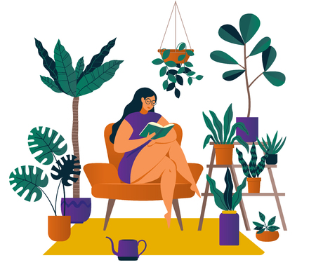Urban jungle, trendy home decor with plants, cacti, tropical leaves Illustration