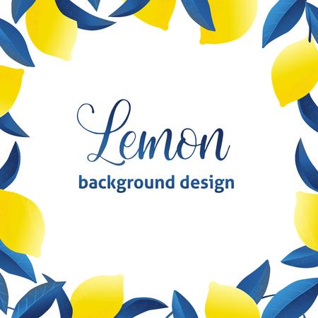 Design di sfondo esotico e tropicale estivo. Composizione con limoni e foglie. Carta universale di vettore con posto per il testo.