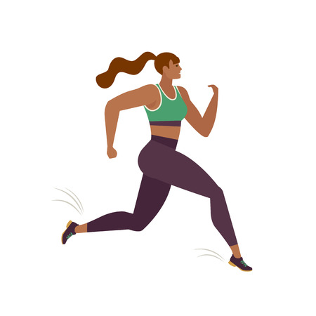 Jogging prson. Runner in motion. Running women sports background. People runner race, training marathon, jogging and running illustration. Иллюстрация