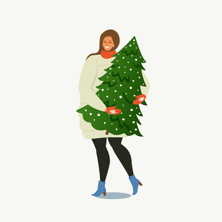 Lady Carrying a Christmas Tree Merry Christmas and Happy New Year. People are preparing for the new year. Banque d'images - 109723173
